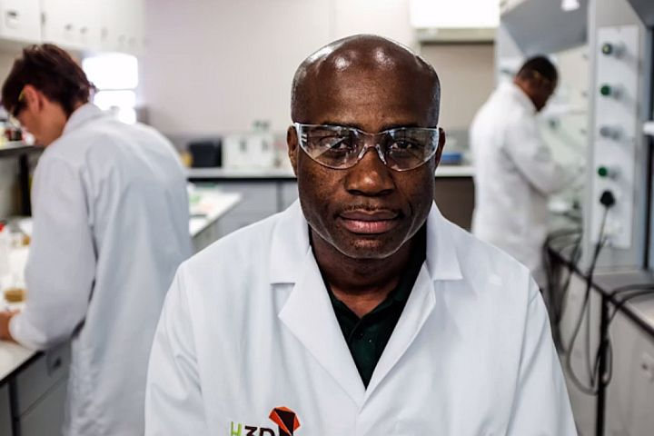 Prof Chibale in lab