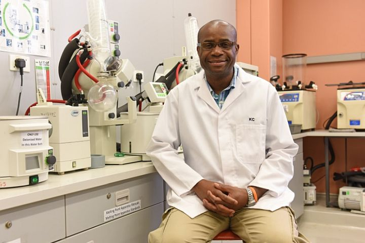 Professor Kelly Chibale, the director of Africa's first integrated drug discovery and development center, H3D, at his laboratory at the University of Cape Town. Credit: Michael Hammond